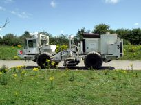 A seismic transmitter truck