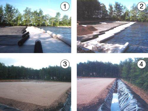 Stages in the preparation of a well site: 1 & 2: laying the impermeable membrane; 3: base material covering the membrane; 4: drainage ditch surrounding the site